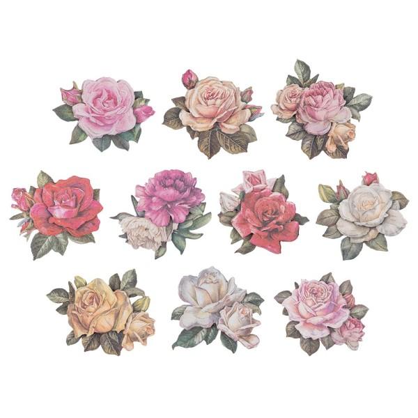 3-D Motive, Vintage-Rosen, mit Perlmutt-Leinenstruktur, 7-10,5cm, 10 Motive