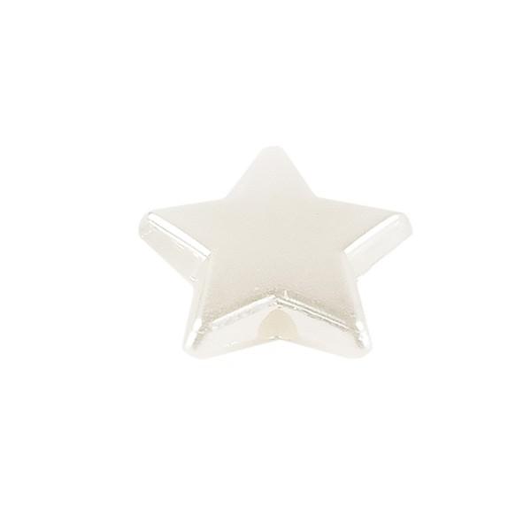 Perlen, Stern 1, flach, 1,4cm x 0,4cm, perlmutt-weiß, 240 Stück