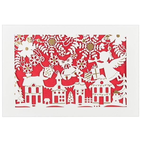 """Laser-Grußkarte """"Weihnachten 9"""", 12x18cm, mit Umschlag & rotem Einleger"""
