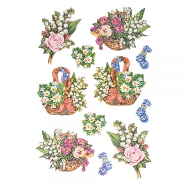 3-D Relief-Sticker, Zauberhafte Maiglöckchen 1, 21cm x 30cm, verschiedene Größen, selbstklebend