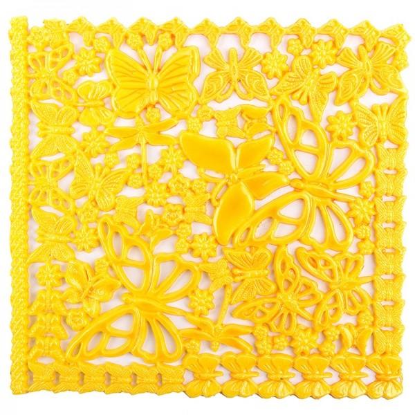 Wachsornament-Platte, 16cm x 16cm, Schmetterlinge, gelb