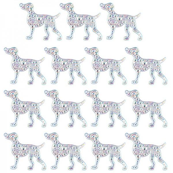 Kristallkunst-Schmucksteine, Hund, 3,7cm x 4,5cm, transparent, klar, irisierend, 15 Stück
