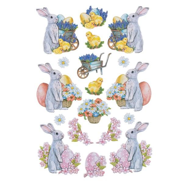 3-D Relief-Sticker, Niedliche Hasen 4, 21cm x 30cm, verschiedene Größen, selbstklebend