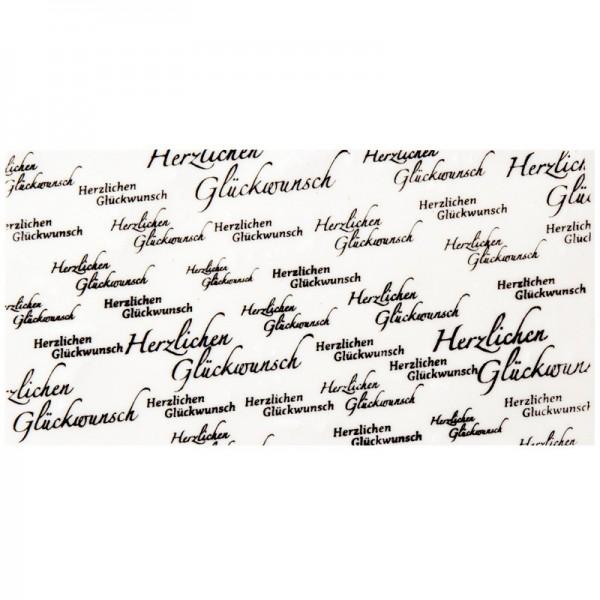 """Wachsplatte, bedruckt, """"Herzlichen Glückwunsch"""", 20cm x 10cm, schwarz/creme"""