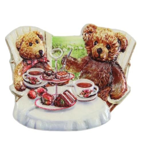 Wachsornament Teddys beim Kaffeetrinken, farbig, geprägt, 6,5 x 7,5 cm