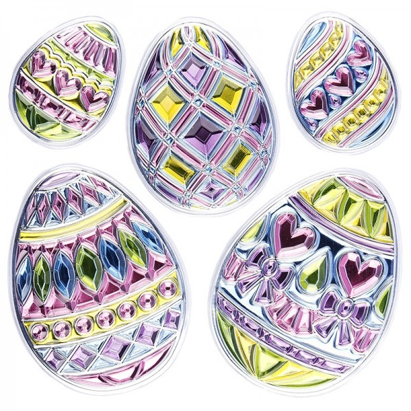 Relief-Sticker in Kristall-Optik, Ostereier 1, 18cm x 18cm