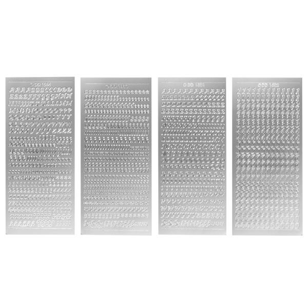 Stickerbogen, Buchstaben & Zahlen, silber, 4 Bogen