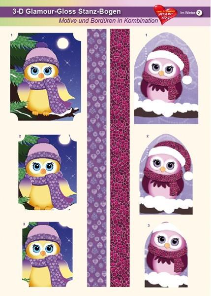 3-D GlamourGloss Bogen, Im Winter, DIN A4, Motiv 2