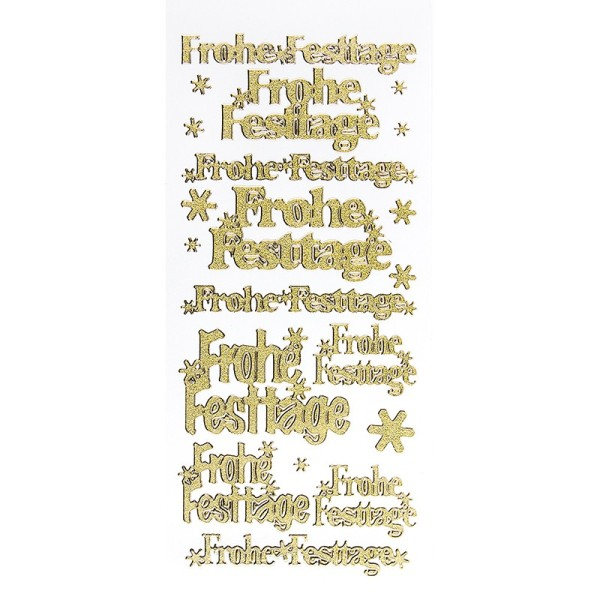 Sticker, Frohe Festtage, Diamantfolie, gold