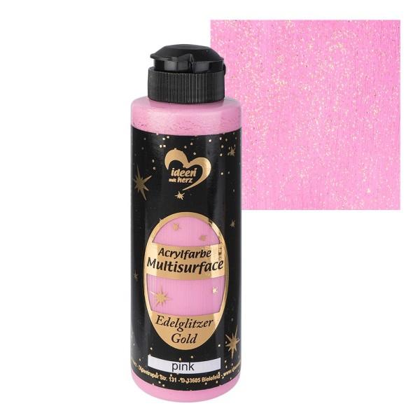 "Acrylfarbe ""Multisurface"", Edelglitzer Gold, pink, 180ml"