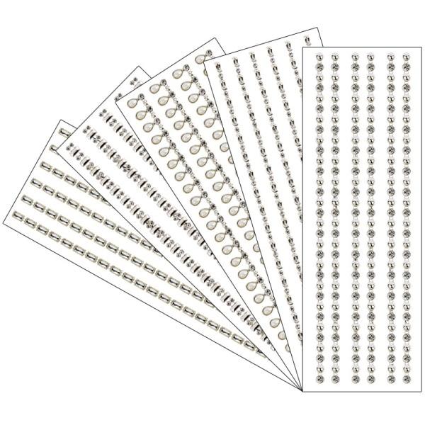 Premium-Schmuck-Bordüren, 10cm x 30cm, selbstklebend, mit Glas-Kristallen, hellgold, 5 Stück