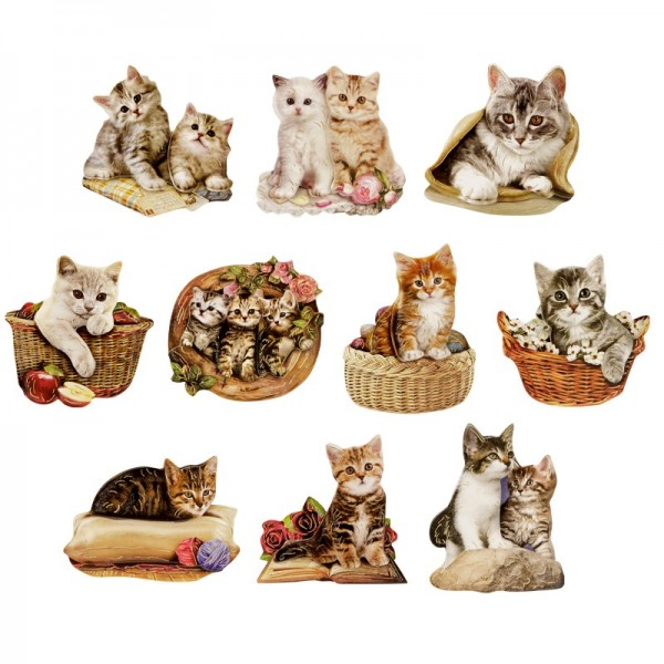 3-D Motive, Süße Katzen, Gold-Gravur, 6-8,5cm, 10 Motive