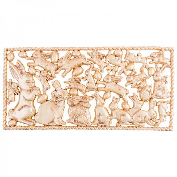 Wachsornament-Platte Osterhasen, 16cm x 8cm, braun patiniert