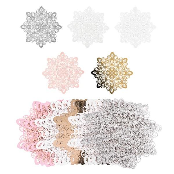 Laser-Kartenaufleger, Zierdeckchen, Ornament 21, Ø 14cm, 220 g/m², 5 Farbtöne, 20 Stück