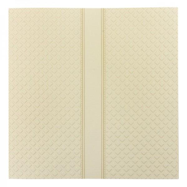 Exquisit-Grußkarten mit Top-Prägung, 16 x 16 cm, 10 Stück, creme/Rautenmuster