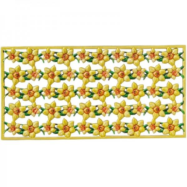 Wachs-Bordüren auf Platte, Narzissen, farbig, geprägt, 20cm, 5 Stück