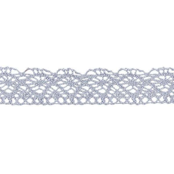 Häkelspitze Design 1, 2,1cm breit, 2m lang, blaugrau