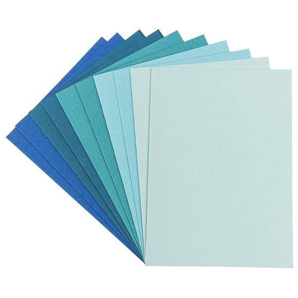 """Grußkarten """"Anna"""" in Leinen-Optik, C6, 5 Farben, Mint-/Blautöne, inkl. Umschläge, 10 Stück"""