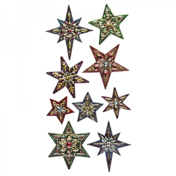 Relief-Sticker Weihnachten, Sterne 2, 17,5cm x 9cm