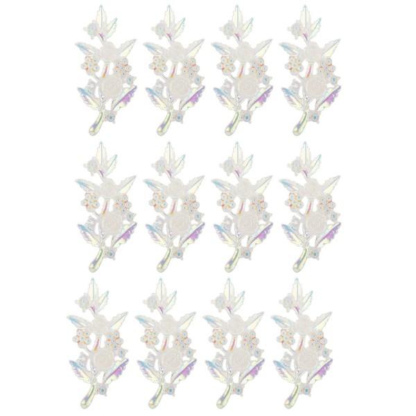Kristallkunst-Schmucksteine, Rosenzweig 2, 2,4cm x 5,1cm, transparent, klar, irisierend, 12 Stück