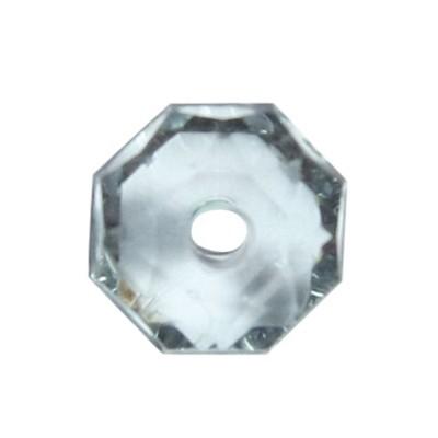 Oktagon-Perlen, transparent, 8,5mm, anthrazit, 50 Stück