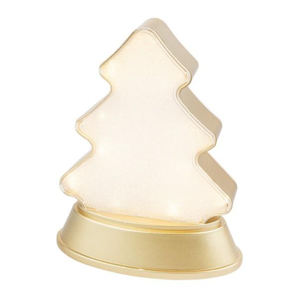 LED-Relaxleuchte, Tannenbaum, 14,5cm x 12cm, Diamant-Lichteffekt-Folie, 13 LEDs, warmweiß, hellgold