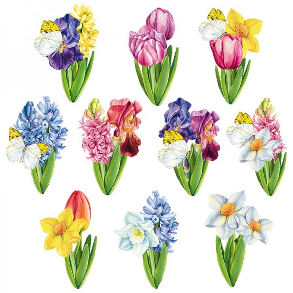 3-D Motive, Frühlingsblumen, 5-9 cm, 10 Stück