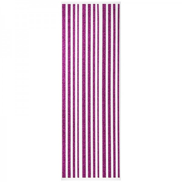Glitzer-Bordüren, Sticker-Linien, 30 cm lang, 3-6 mm, fuchsia
