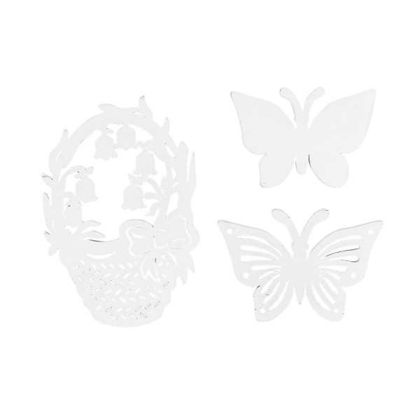 Frühlingskörbe & Schmetterlinge, Holz, verschiedene Designs, weiß, 15 Stück