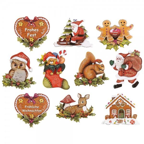 3-D Motive, Fröhliche Weihnachten, Gold-Gravur, 10 Motive