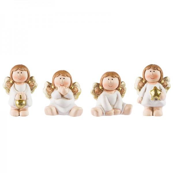 Deko-Figuren, Engel, 5cm & 6cm hoch, sitzend & stehend, 4 Stück