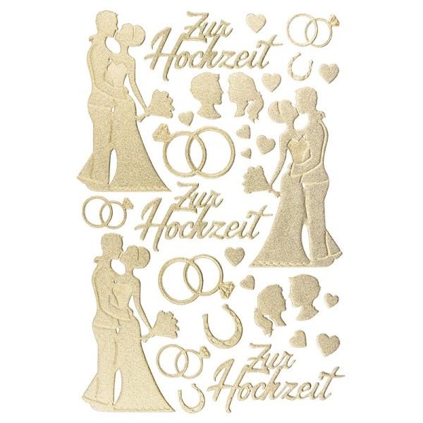 3-D Sticker, Deluxe Zur Hochzeit, selbstklebend, gold