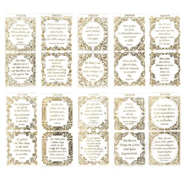 Gravur-Sticker, Lebensweisheiten, transparent/gold, 10 Bogen