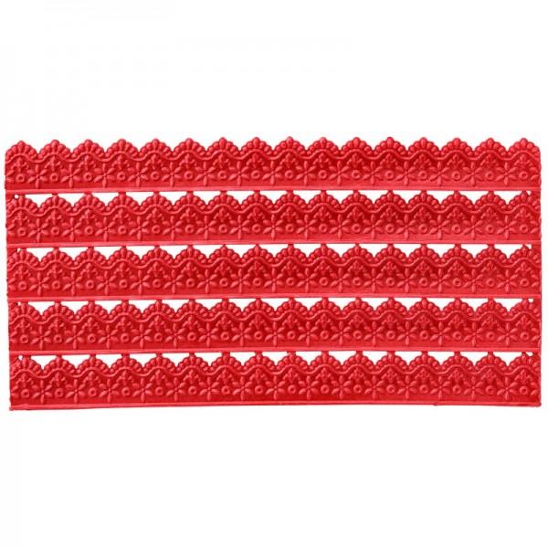 Wachs-Bordüren auf Platte, Spitze, geprägt, rot, 20cm, 5 Stück