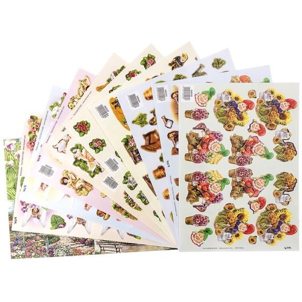 3-D Bogen, Gartenzwerge & Elfen, vorgestanzt, DIN A4, 10 Stück