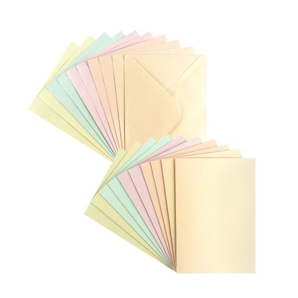 Grußkarten, Perlmutt, C6 (10,5cm x 14,8cm), 5 Farben, inkl. Umschläge, 10 Stück