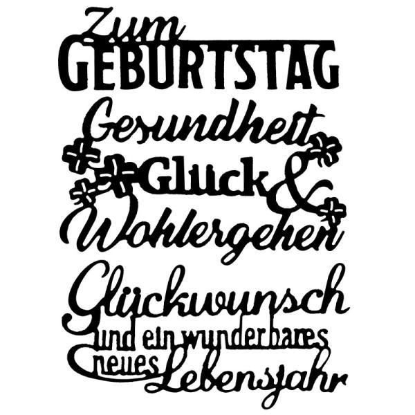 Stanzschablonen, Schriften, Geburtstagswünsche 7, 3 Stück