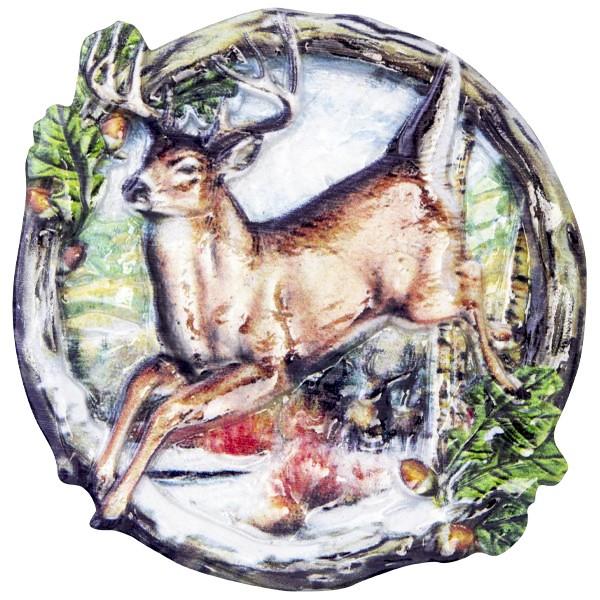 Wachsornament Tiere im Winter 4, farbig, geprägt, 7cm