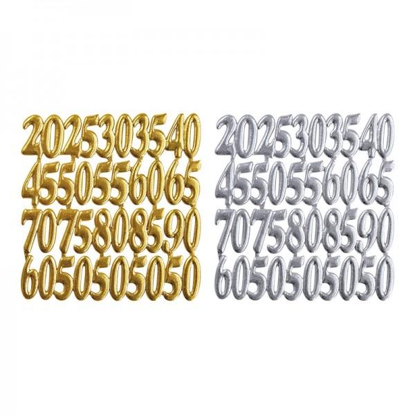 Wachsornament-Platten, Jubiläumszahlen, 6 Stück, silber & gold