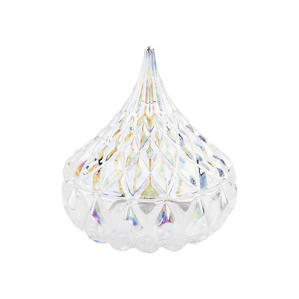 Glas-Bonboniere, facettiert, 2-teilig, Ø 7,5cm, 8,5cm hoch, abnehmbarer Deckel, klar-irisierend