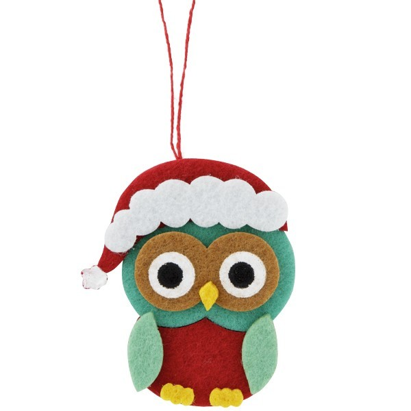 Filz-Anhänger im Eulendesign, 6x7cm, weihnachtlich, 2 Stück