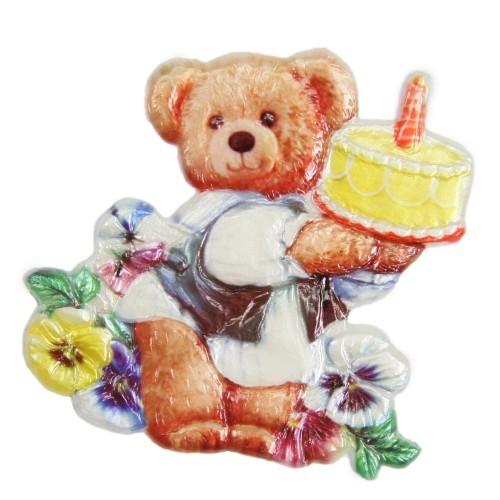 Wachsornament Teddy mit Torte, farbig, geprägt, 7,5 x 7,5 cm
