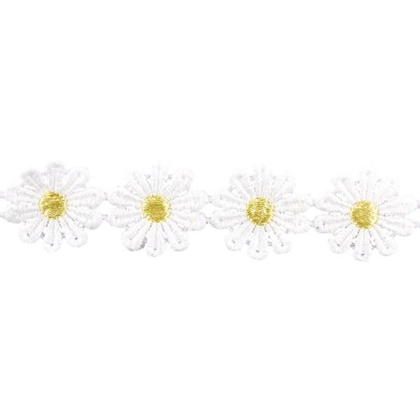 "Stoffblüten-Band ""Margeriten"", 2,5cm breit, 1m lang"