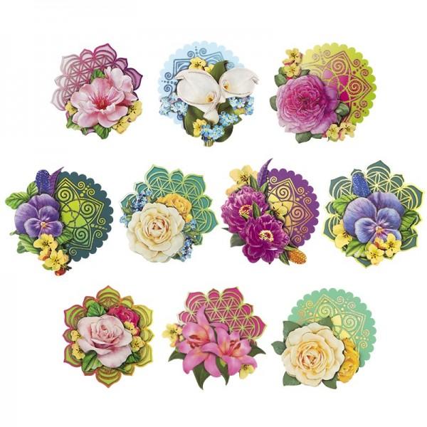 3-D Motive, Blumen der Liebe und des Lebens, 8-9,5cm, 10 Motive