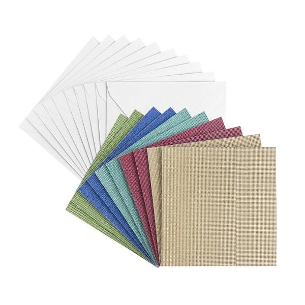 Grußkarten, Glitzer-Leinen, 11cm x 11cm, 5 Farben, inkl. Umschläge, 10 Stück