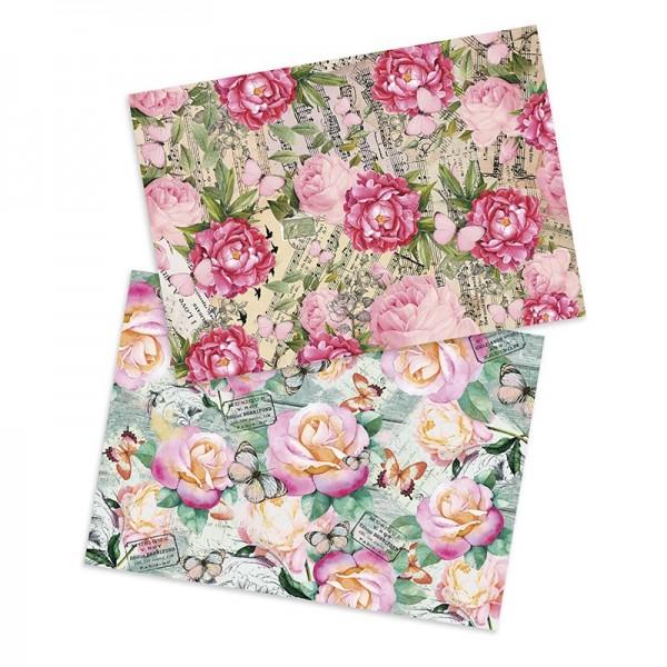 "Reispapiere ""Rosen & Schmetterlinge"", DIN A4, 2 Designs"