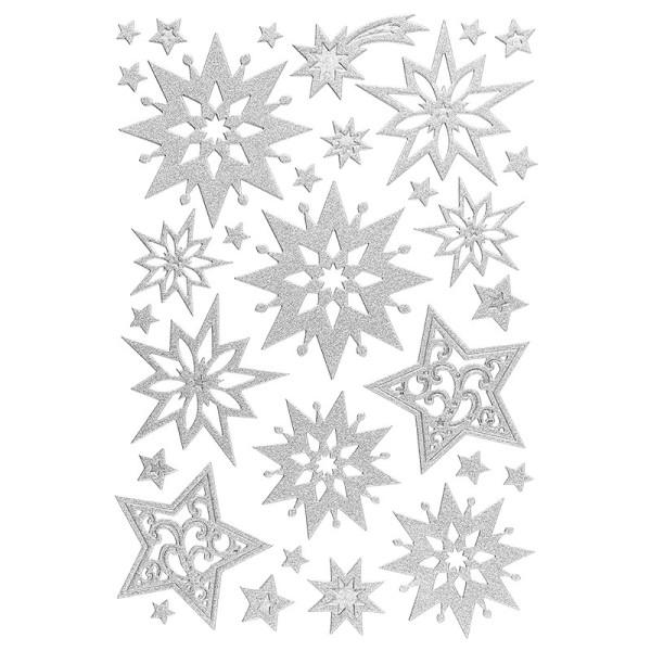 3-D Sticker, Deluxe Sterne, verschiedene Größen, selbstklebend, silber