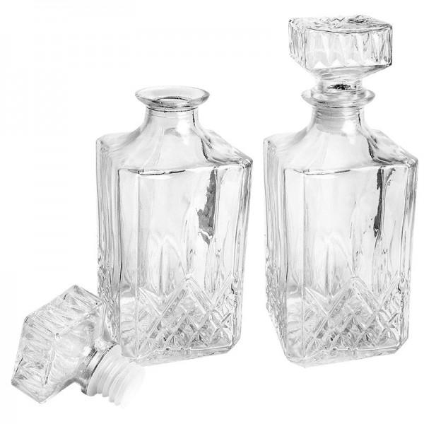 Glaskaraffen, Elegance, 9cm x 9cm x 23cm (inkl. Verschluss), Kristall-Design, 900ml, 2 Stück