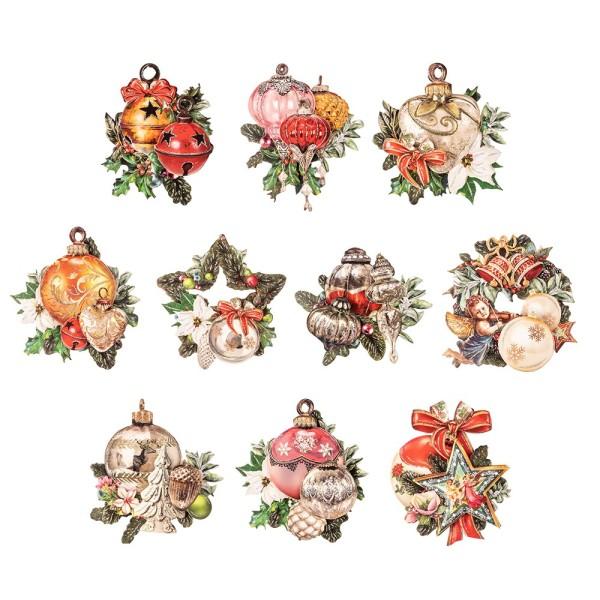3-D Motive, Weihnachts-Baumschmuck, 8-11cm, 10 Stück