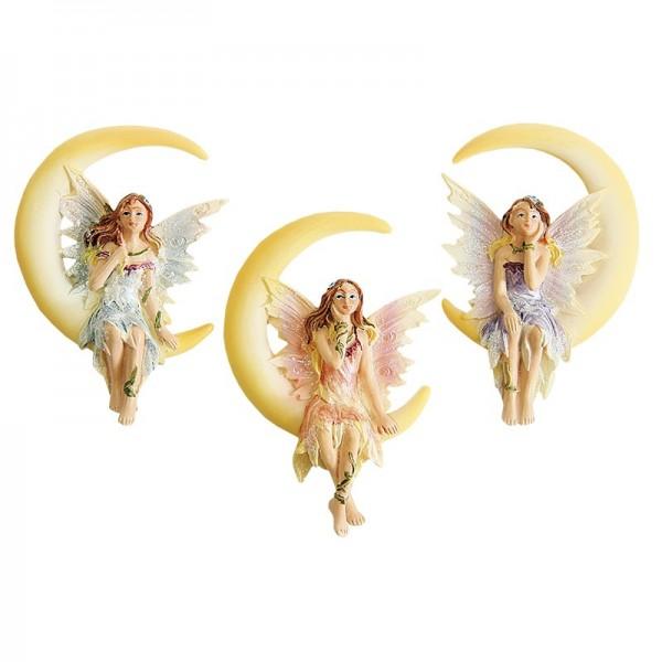 Relief-Elfen im Mond, 3er Set